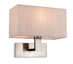 Firstlight 4939BSOY Raffles Single Wall Light (Brushed Steel with Oyster Shade)