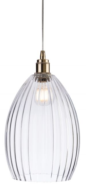 Firstlight 7647AB Victory Glass Pendant Light with Antique Brass